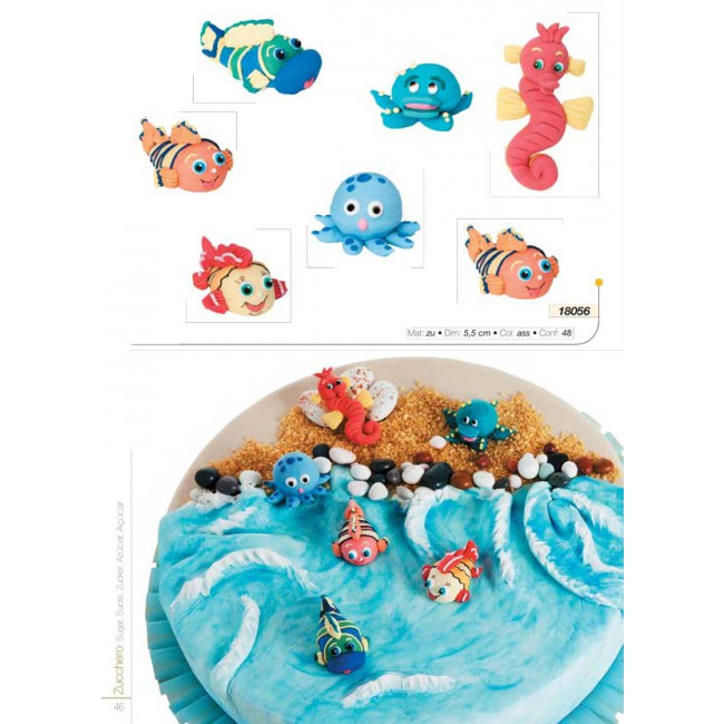 Kit 7 soggetti il mare decoro torte zucchero cake design for Decorazioni torte vendita