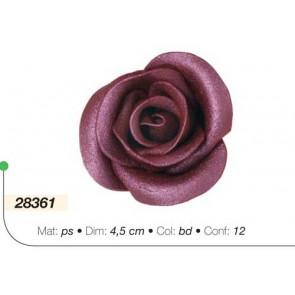 ROSA GLITTER GRANDE BORDEAUX 4,5 CM DECORO TORTE AMBRA'S