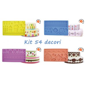 KIT 4 TAPPETI DECORATIVI STAMPO SILICONE 54 DECORI CAKE DESIGN