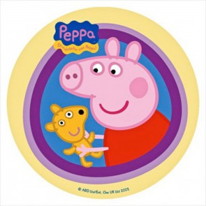 CIALDA IN OSTIA PEPPA PIG  E ORSETTO DECORAZIONE TORTA DISCO Ø 22 CM
