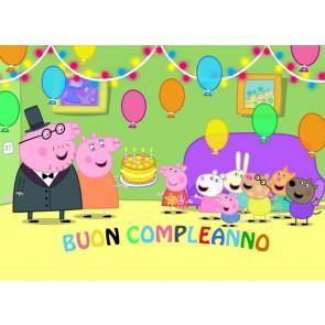 CIALDA ZUCCHERO PEPPA PIG BUON COMPLEANNO 21X29 CM PERSONALIZZABILE